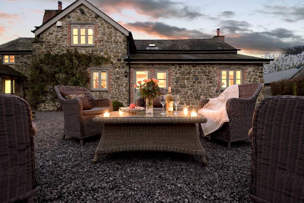 Comfortable outside furniture from which you can enjoy the well stocked gardens and soak in the countryside.